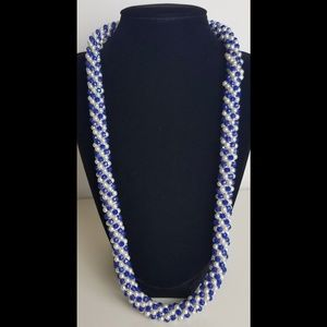 Vintage Beaded Rope Iridescent Necklace